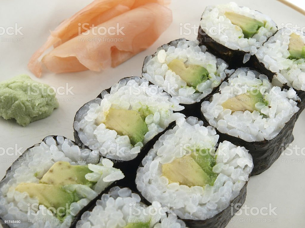 Avocado Roll Sushi royalty-free stock photo