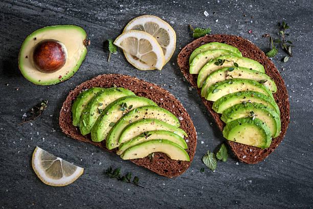 Avocado sandwich stock photo