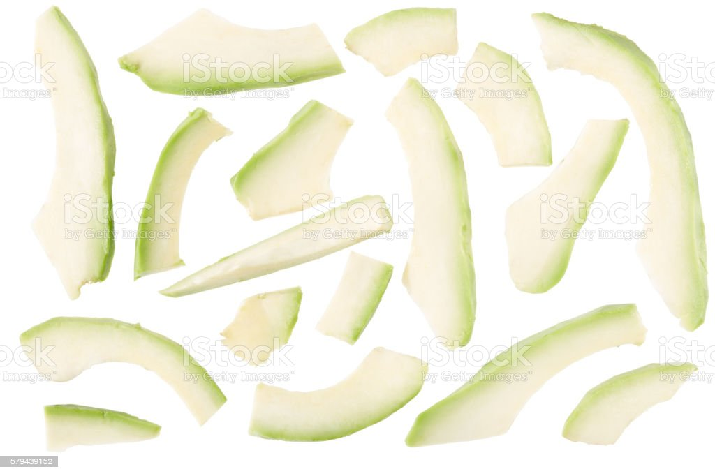 Avocado slices on white, clipping path stock photo