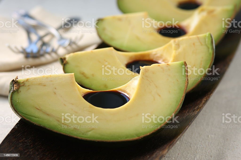 Avocado Slices with Balsamic royalty-free stock photo