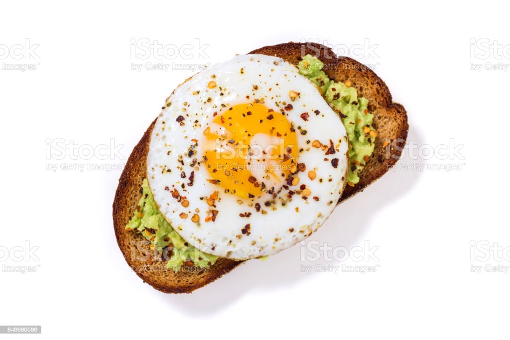 Avocado Toast Fried Egg White Background stock photo