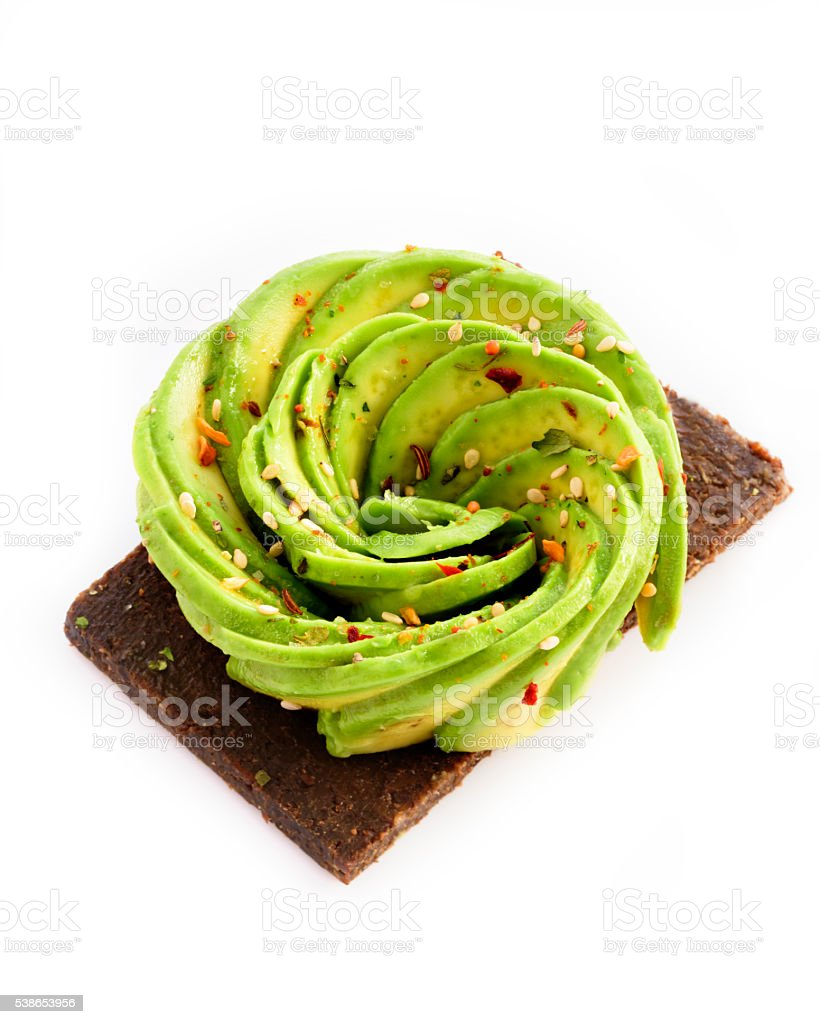 Avocado Toast on White stock photo