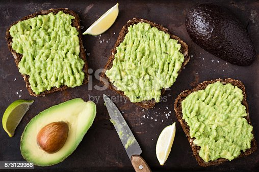 istock Avocado toast with whole grain rye bread. Top view 873129986