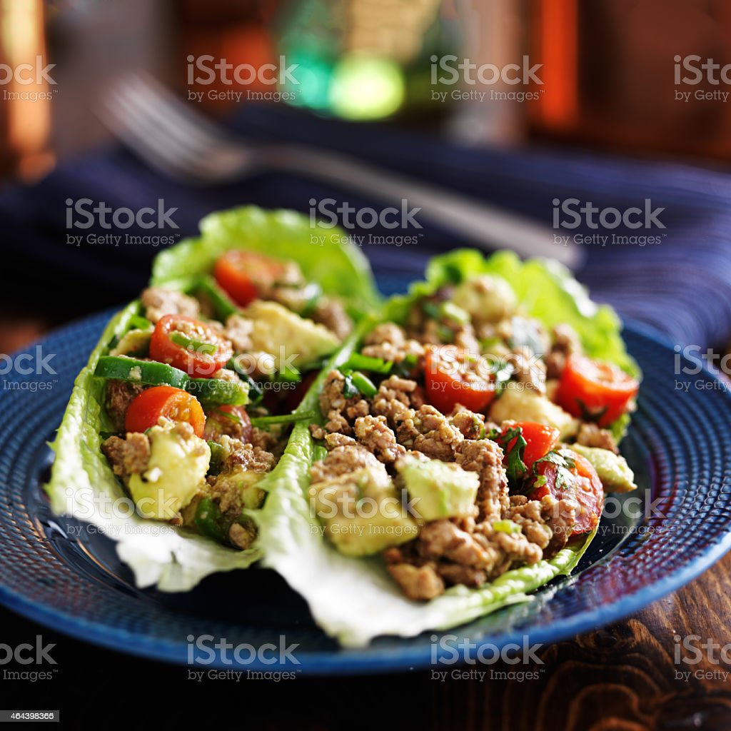 avocado turkey lettuce wraps on plate stock photo