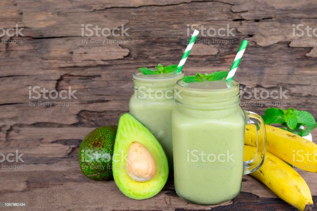 Avocado With Banana Mix Apple Smoothies Colorful Fruit Juice