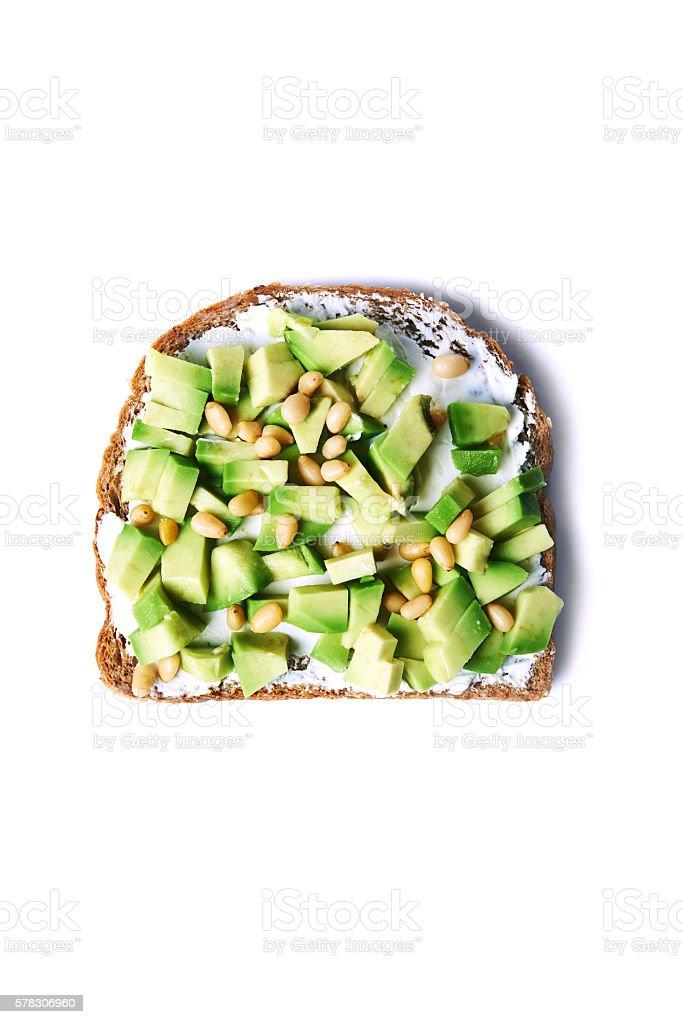 avocado with ray bread stock photo