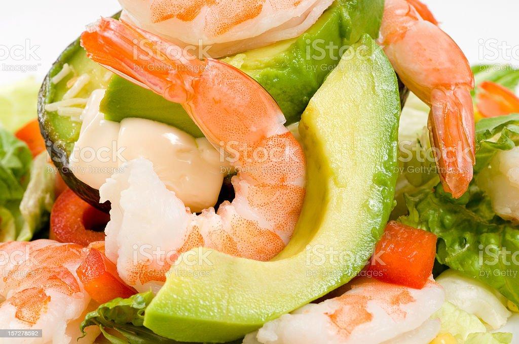Avocado with shrimps salad stock photo