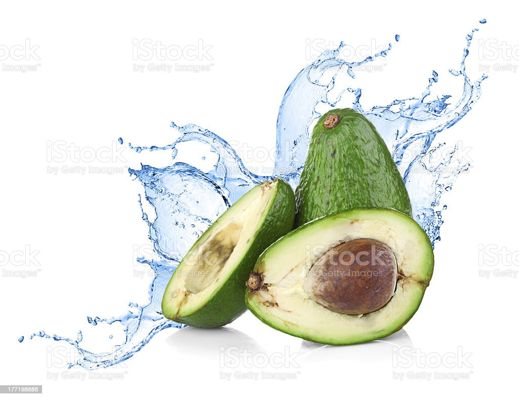Avocado with water splash royalty-free stock photo