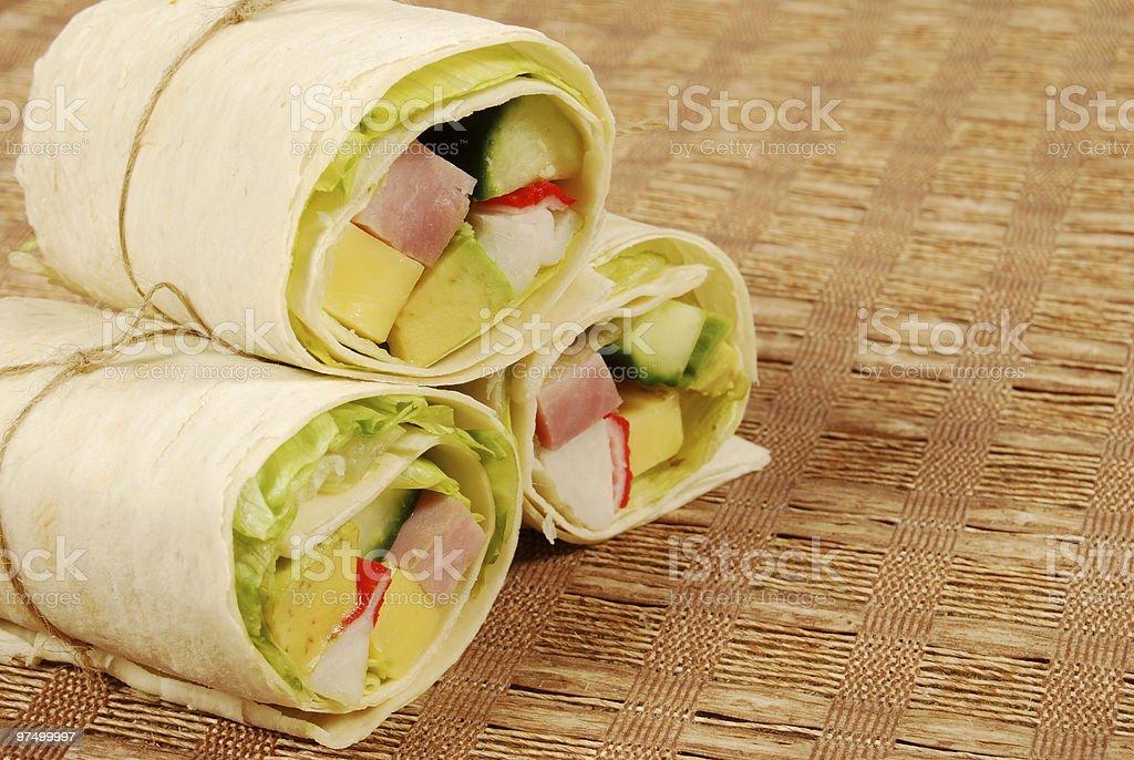 Avocado wrap sandwiches royalty-free stock photo