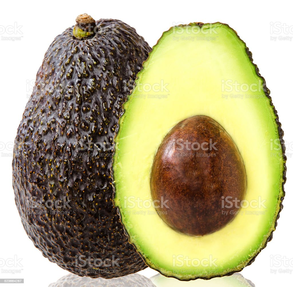 Avocados on a white background stock photo
