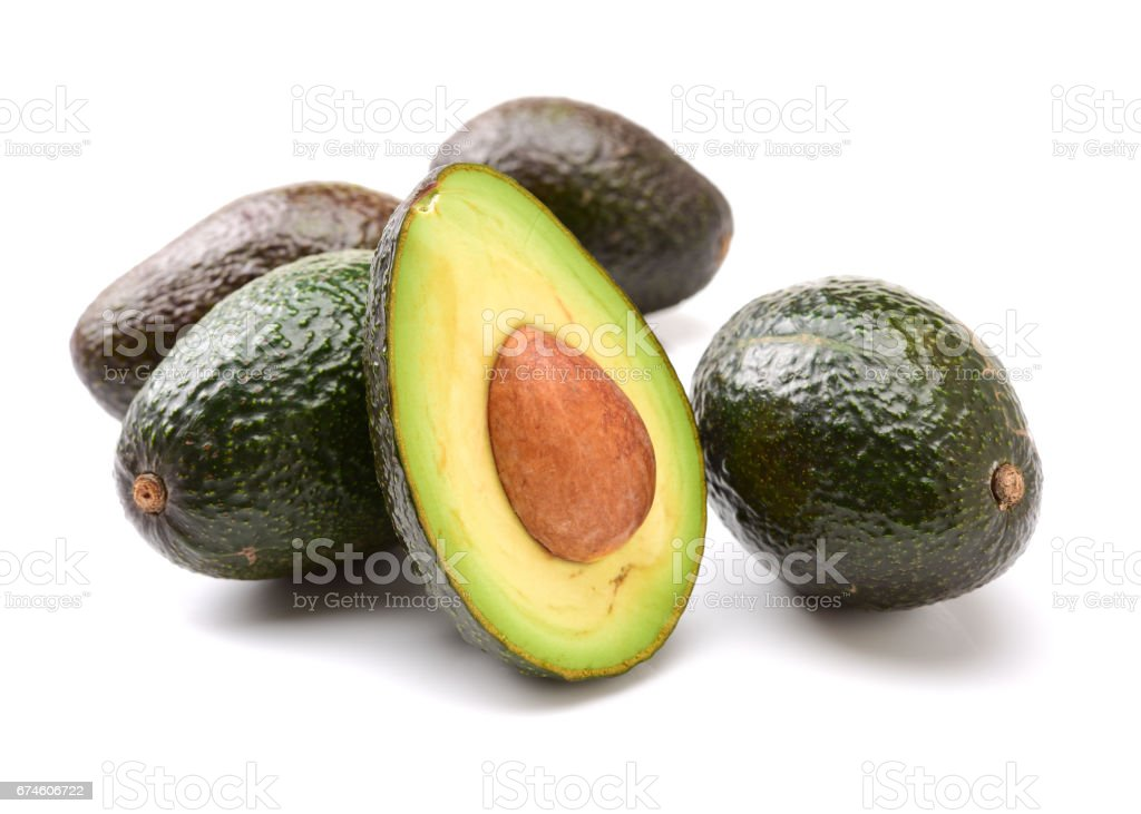 avocados   on white background. stock photo
