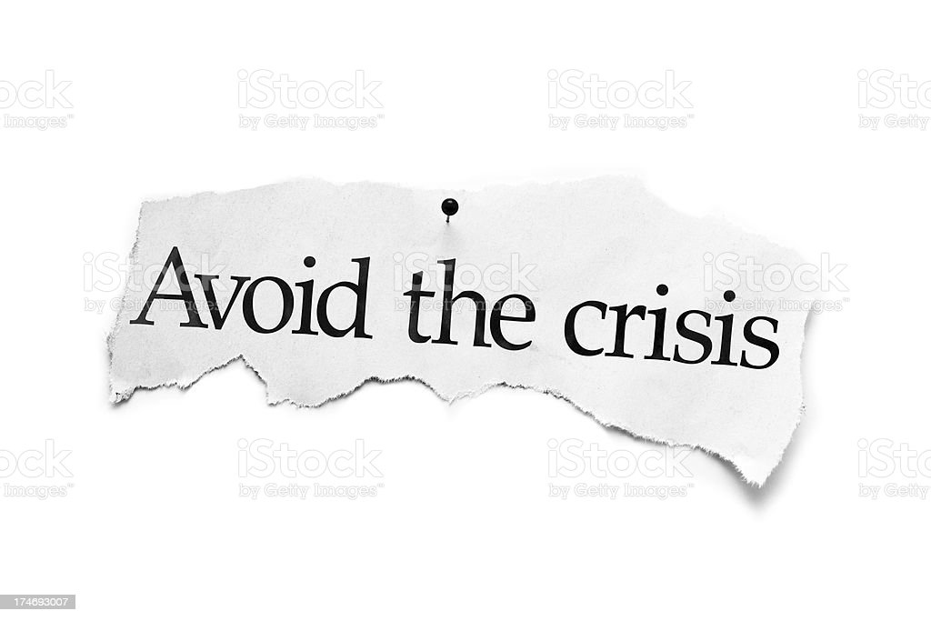 Avoid the crisis newspaper stock photo