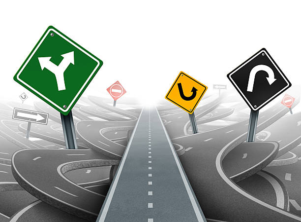 Avoiding Distractions Avoiding distractions and clear strategy for solutions in business leadership with a straight path to success choosing the right strategic plan with yellow green black and red traffic signs through a maze of highways. distractions stock pictures, royalty-free photos & images