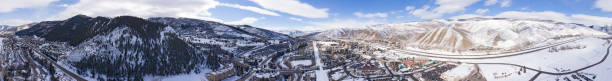 Avon Colorado 360 Aerial Panorama Avon Colorado 360 Aerial Panorama Beaver Creek Vail Eagle Valley Rocky Mountains During Winter avon colorado stock pictures, royalty-free photos & images