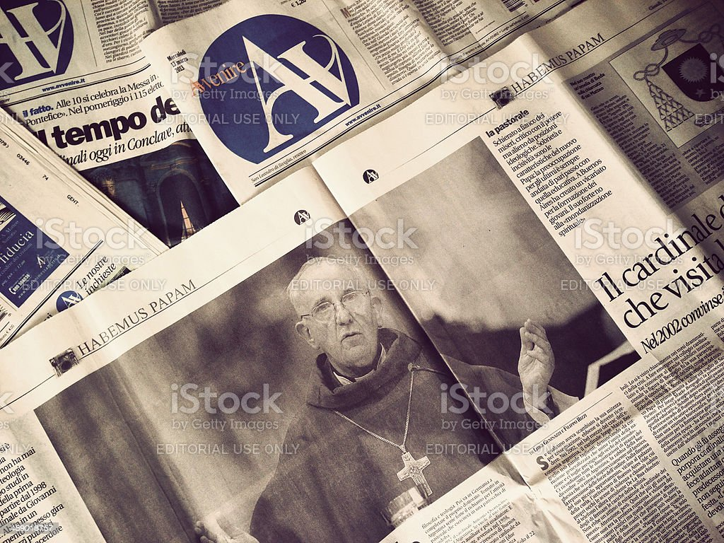 Avvenire newspaper the day after new Pope Election royalty-free stock photo