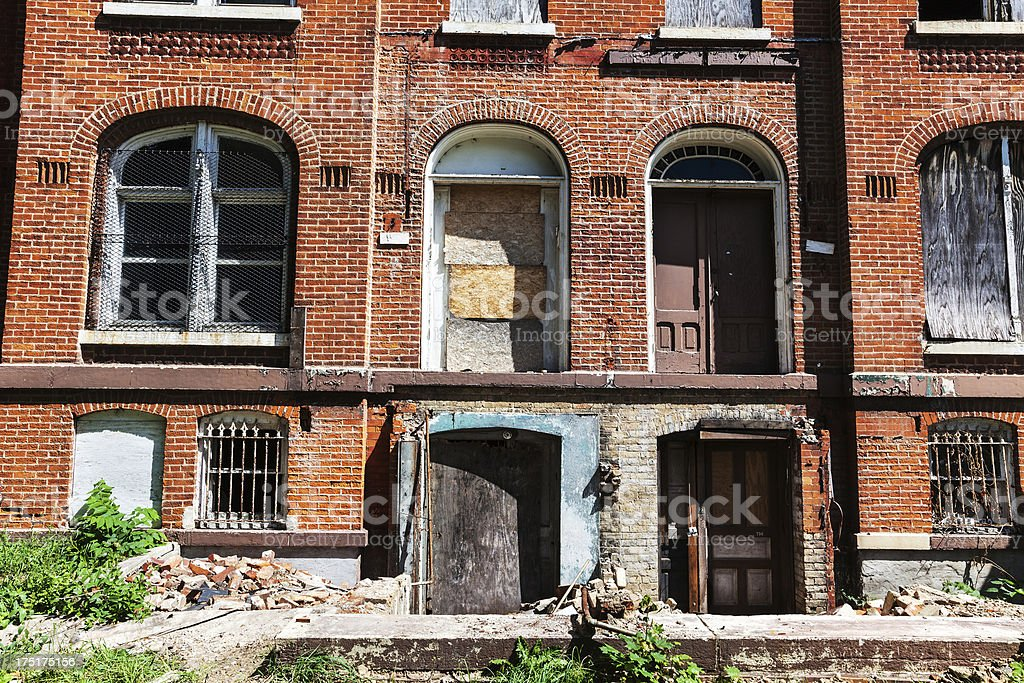 Awaiting demolition. Ruined houses in Chicago royalty-free stock photo