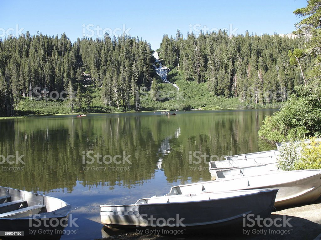 awaiting fishing boats royalty-free stock photo