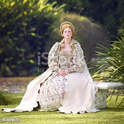 Portrait of a noble woman sitting outdoors on palace grounds