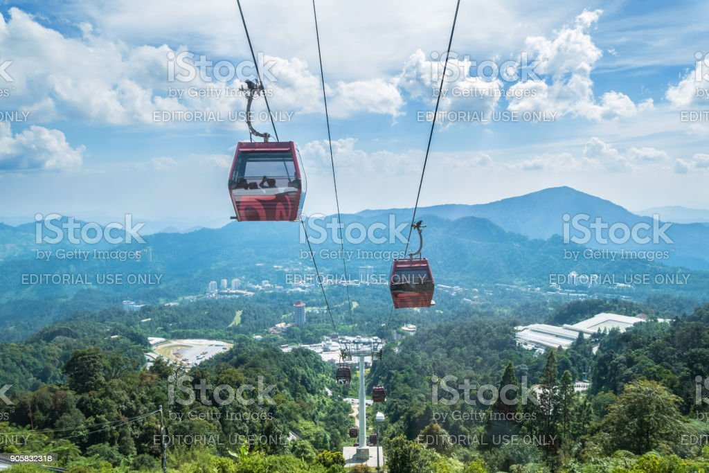 Awana Skyway cable car is a gondola lift system connecting Chin Swee Temple ,Awana Transport Hub and SkyAvenue in Genting Highlands, Pahang, Malaysia stock photo