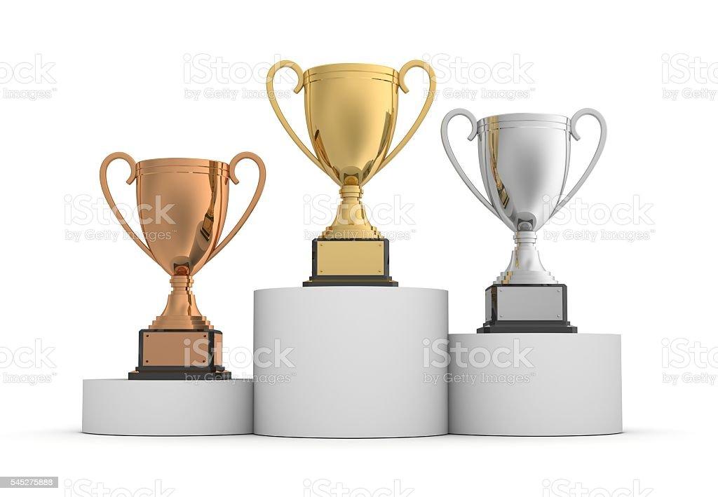 award cups stock photo