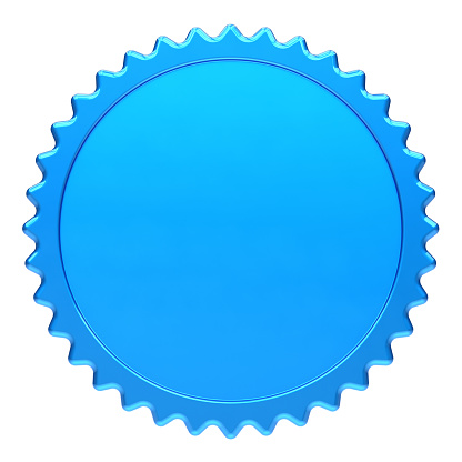 award medal blue winner badge blank template. champion success icon round circle design element. 3d rendering