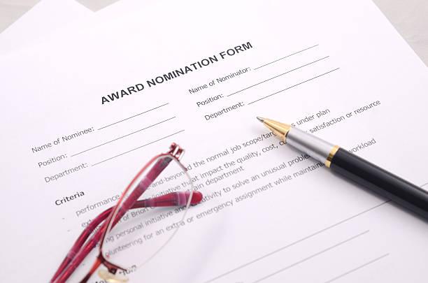 award nomination form stock photo