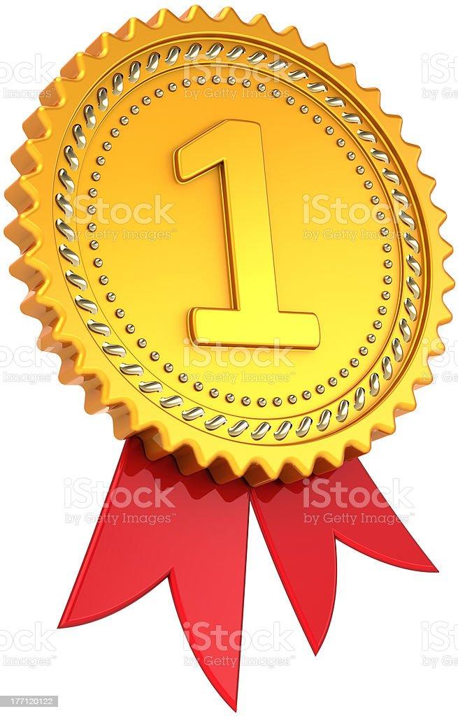 Award ribbon First place golden badge royalty-free stock photo