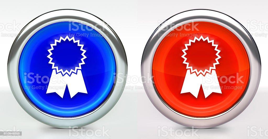 Award Ribbon Icon on Button with Metallic Rim stock photo
