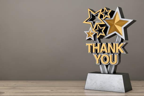 黄金の賞のトロフィーは、サインをありがとうございました。3 d レンダリング - アイコン プレゼント ストックフォトと画像