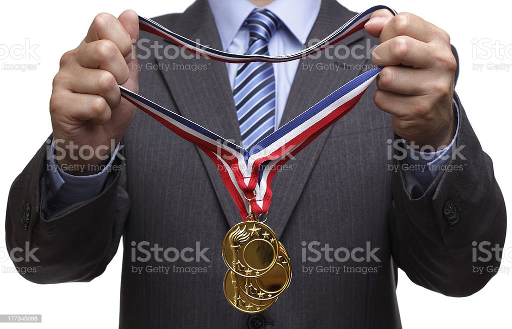 Awarding gold medal royalty-free stock photo