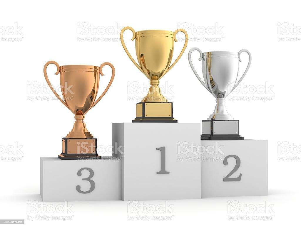 awards and winner podium stock photo