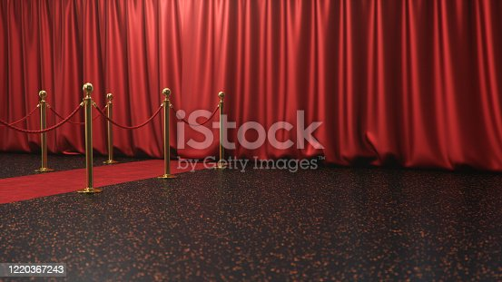 939155332 istock photo Awards show background with closed red curtains. Red velvet carpet between golden barriers connected by a red rope. Curtains theater stage, 3d Rendering 1220367243