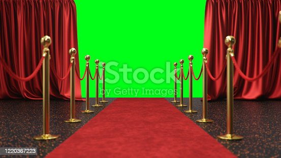 939155332 istock photo Awards show background with red curtains open on green screen. Red velvet carpet between golden barriers connected by a red rope. Curtains theater stage, 3d Rendering 1220367223
