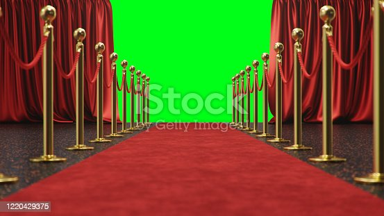 939155332 istock photo Awards show background with red curtains open on green screen. Red velvet carpet between golden barriers connected by a red rope. Curtains theater stage, 3d Rendering 1220429375