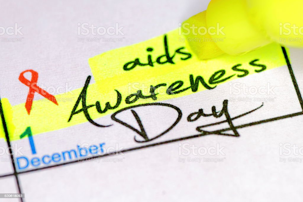 AIDS Awareness day in calendar stock photo