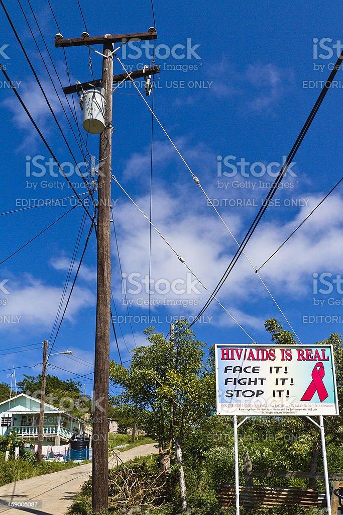 AIDS Awareness Ribbon in Mayreau stock photo