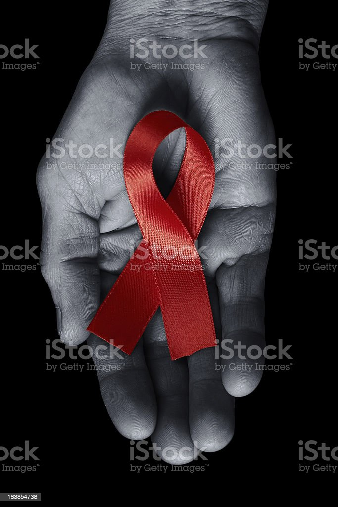 AIDS awareness ribbon stock photo
