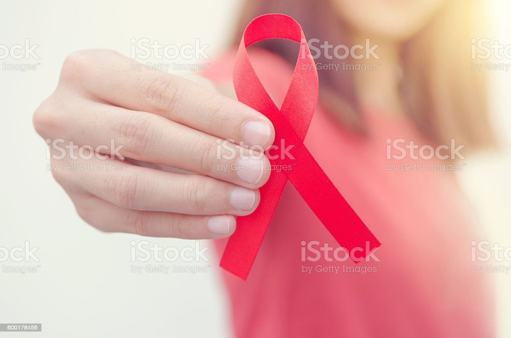 HIV, AIDS awareness ribbon. stock photo