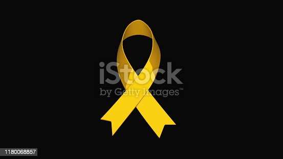 istock Awareness ribbon, the problem of childhood cancer, computer generated gold ribbon icon. 3d rendering background 1180068857