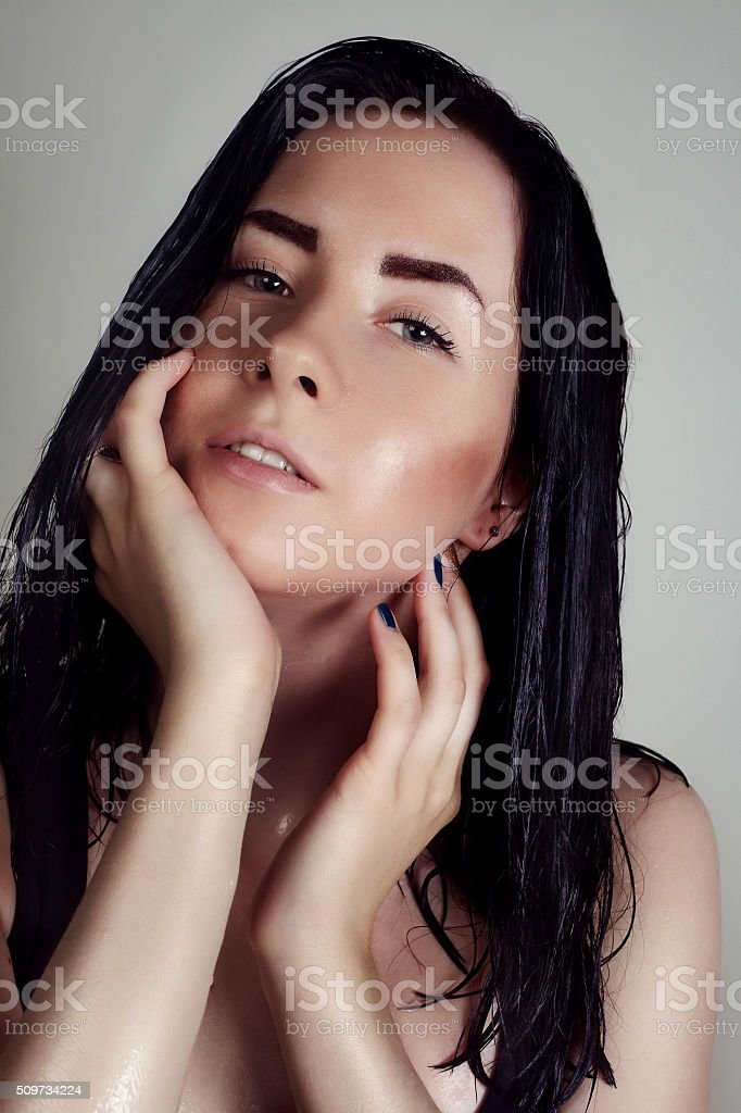 Awesome attractive sexy fashion model with natural brunette hair stock photo