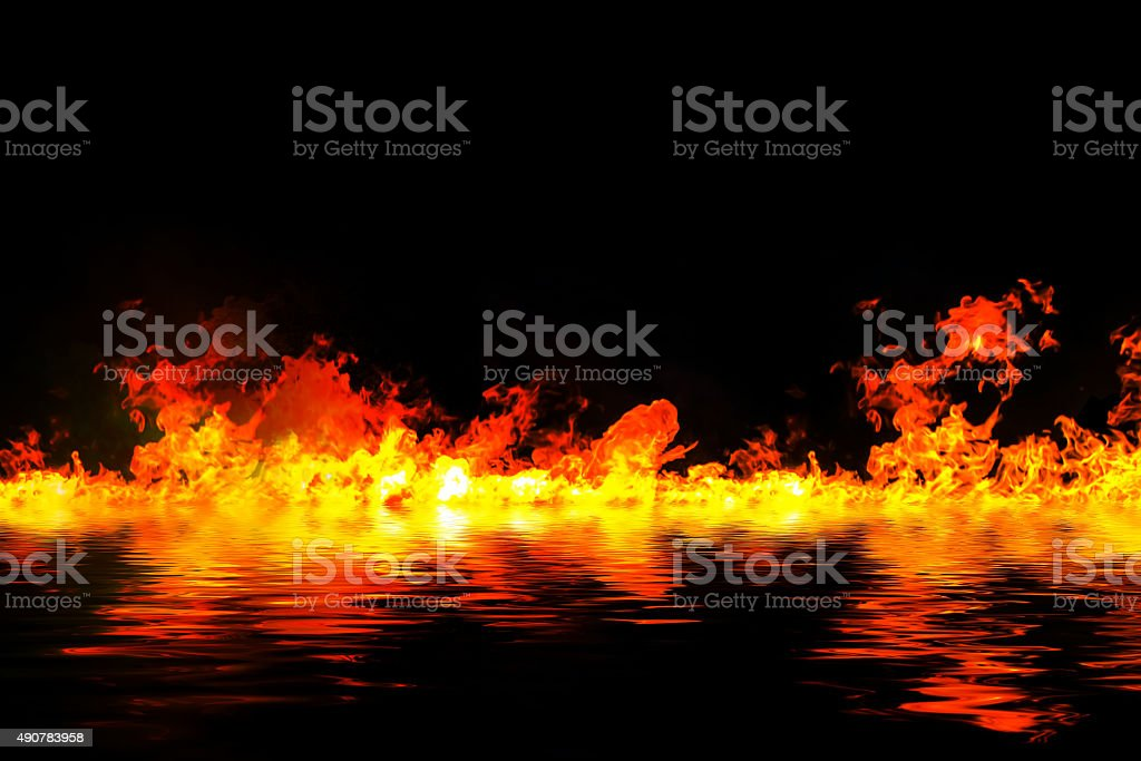 awesome fire flames with water reflection, on a black background stock photo