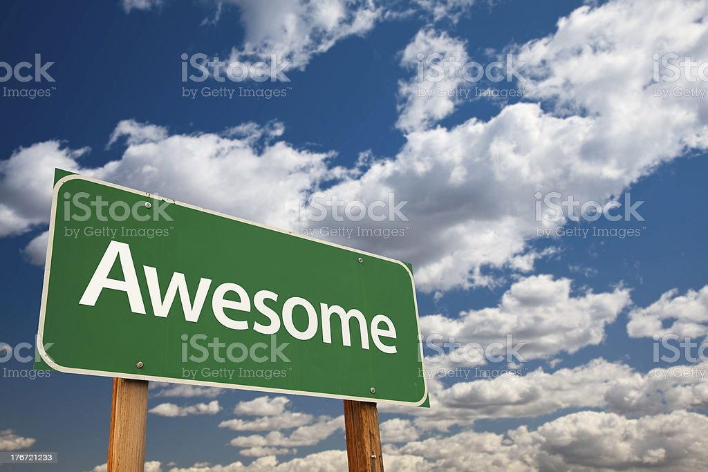 Awesome Green Road Sign with Sky stock photo