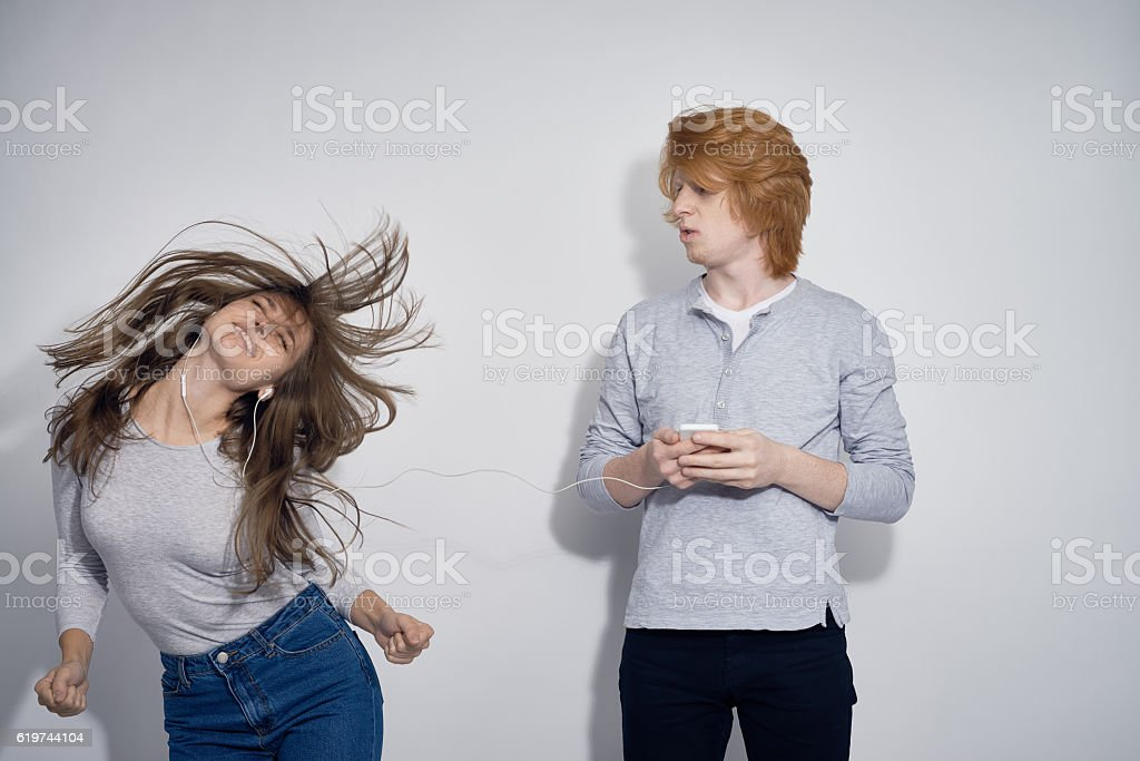 Awesome Music Makes her Dance stock photo