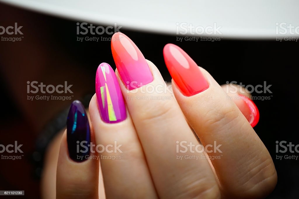 Awesome nails and beautiful clean manicure. stock photo