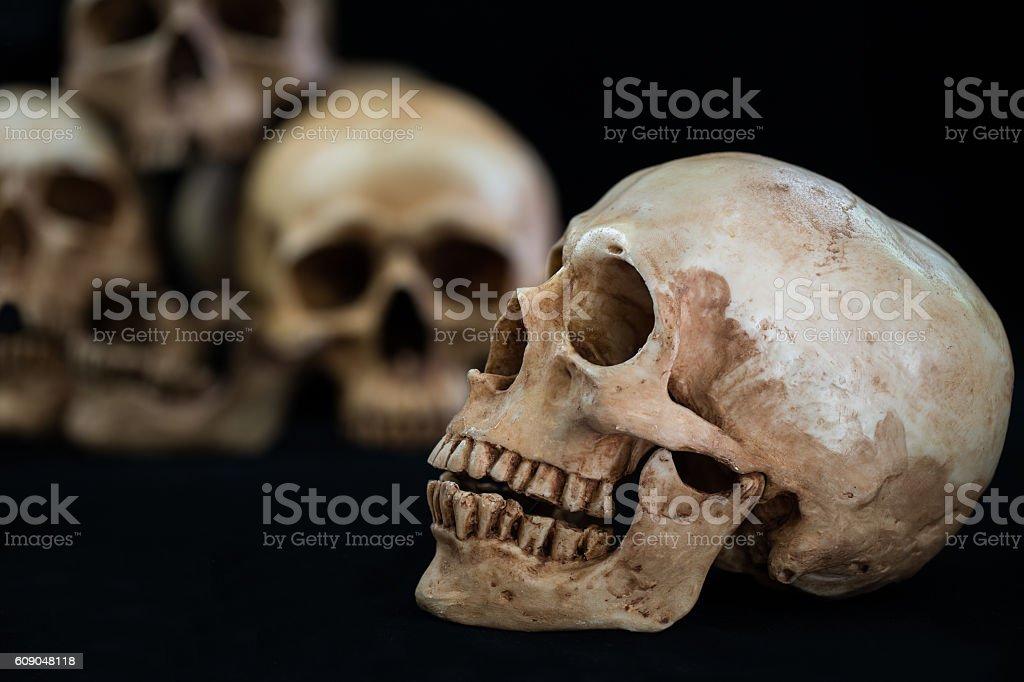 Awesome pile of skull on black background stock photo