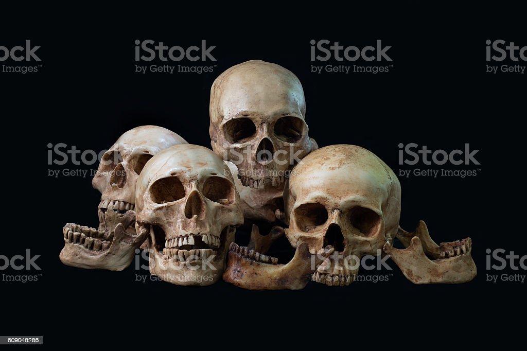 Awesome, pile of skull, on black background, Still Life style stock photo