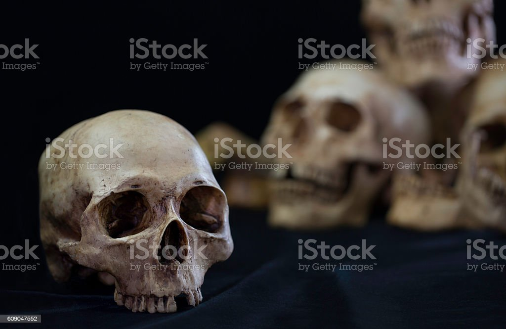 Awesome pile of skull on black cloth stock photo