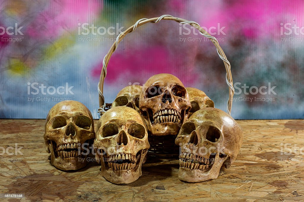 Awesome pile of skull with basket, Still Life stock photo