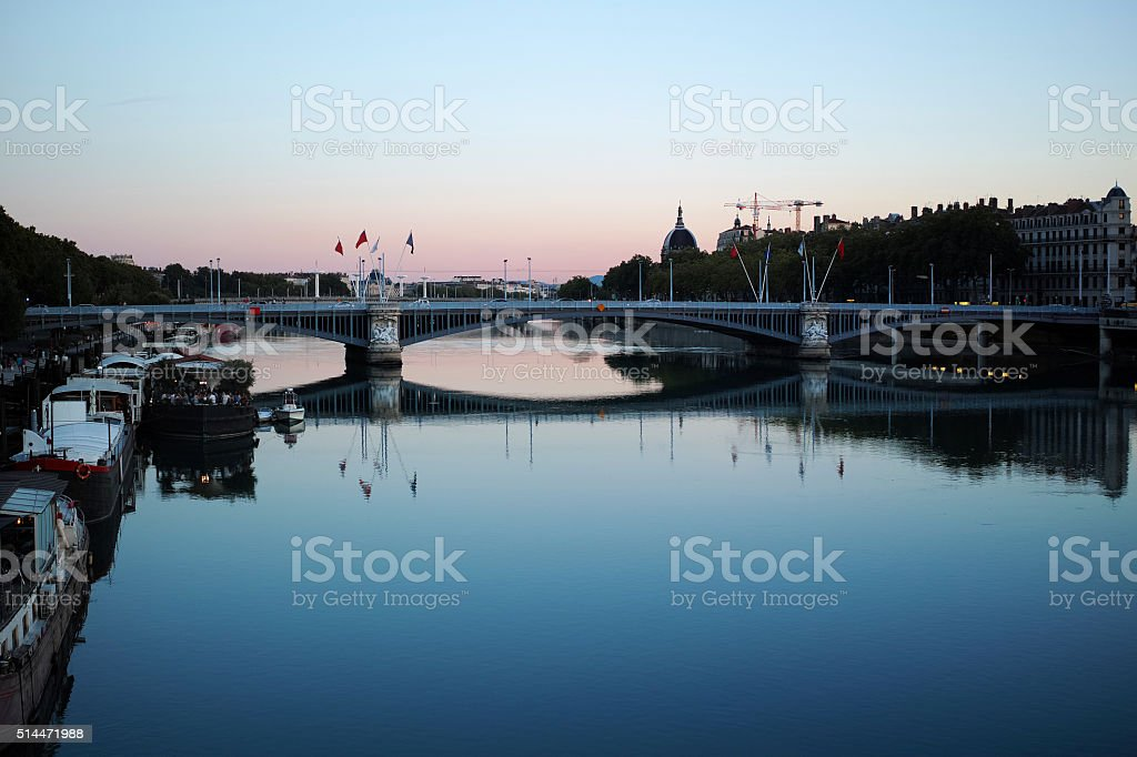 Awesome River And Bridge View At Sunset Time From Lyon stock photo
