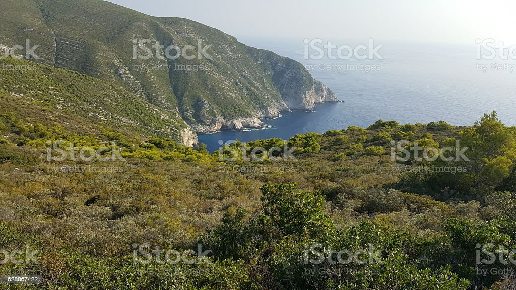 Awesome view from the top of hill, Zakynthos, Greece stock photo